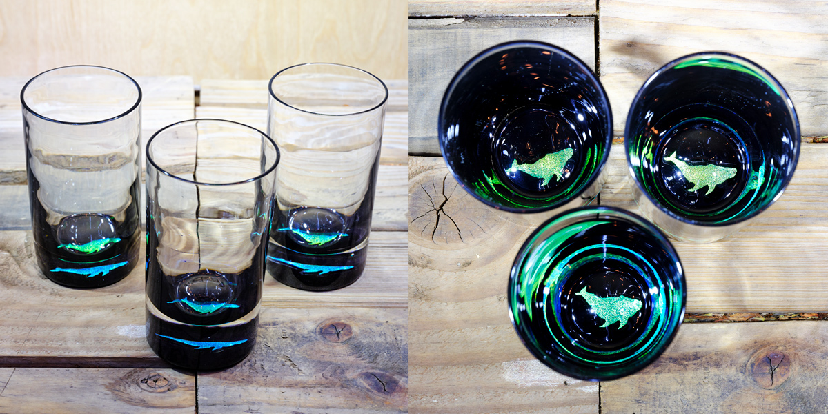 Whale Water Glass in Brilliant Emerald/Ice Blue – $75 Each