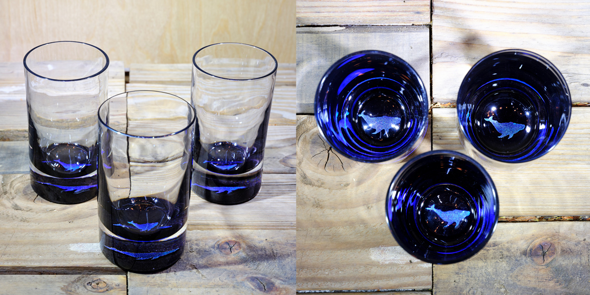 Whale Water Glass in Ocean Blue/Seafoam Green- $75 Each