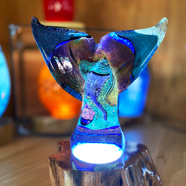 """<p>Dichroic Tail <br>Dim: 9"""" tall x 8.25"""" wide<br> Retail Price: $1375<br>These are one-of-a-kind pieces. Pictured is the actual art you'll receive</p>"""